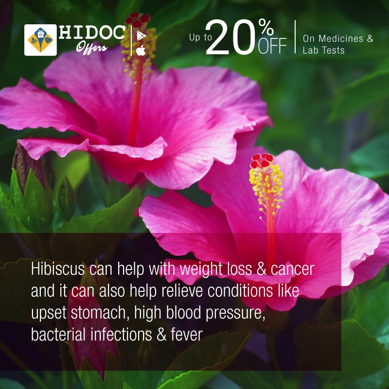 Health Tip - Hibiscus can help with weight loss & cancer and it can also help relieve conditions like upset stomach, high blood pressure,  bacterial infections & fever